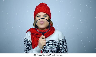 Winter girl portrait - Funny young girl wearing warm...