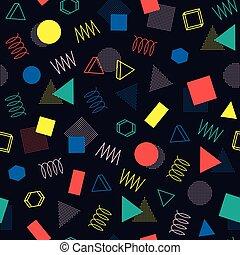 Retro memphis geometric line shapes seamless patterns....