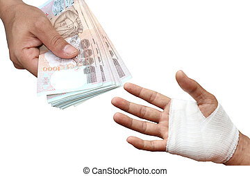 hands pay money for Assured, insurance concept