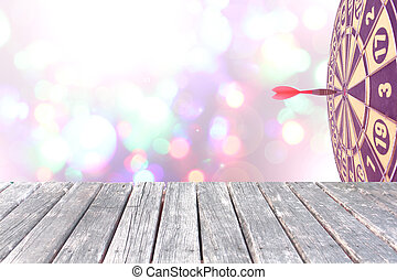 target on Blurred fairy lights background