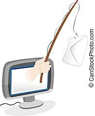 Phishing email - spam concept - a vector cartoon...