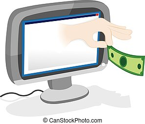 Hand giving money popping out from a pc monitor - a vector...