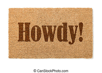 Howdy Welcome Mat On White