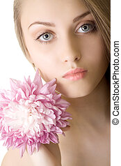Portrait Beautiful woman with flower isolated