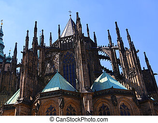 Gothic spiers of Saint Vitus Cathedral in prague - high...