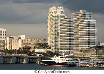 Evening In Miami - The view of Miami Beach district in the...