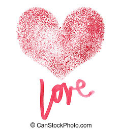 Love - Stencil red heart isolated on a white background -...