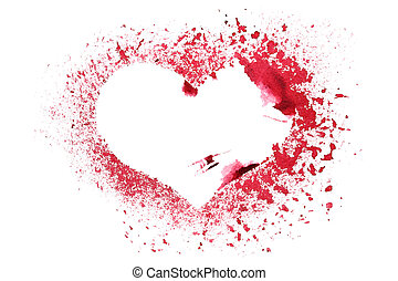 Grunge stencil red heart isolated on a white background