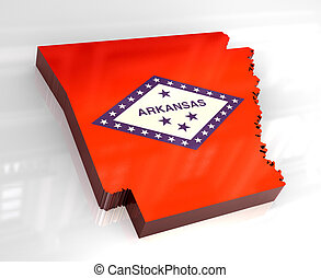 3d flag map of Arkansas - 3d made - flag map of Arkansas
