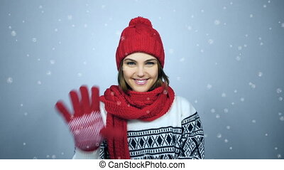 Countdown to holiday - Wintertime countdown. Smiling winter...