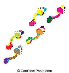 Prints of a human foot.Vector
