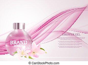 Shower Gel Bottle Template for Ads or Magazine Background....