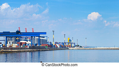 Sea Port in Odessa, Ukraine, 2016. Hoisting crane and ship....