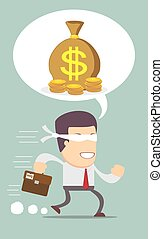 Blindfolded businessman running to find money . Stock vector...