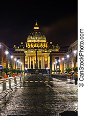 The Papal Basilica of St. Peter in the Vatican city at night