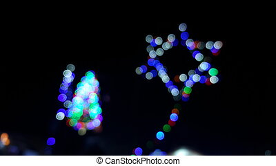 Defocused flowing light dots on star background - Seamlessly...