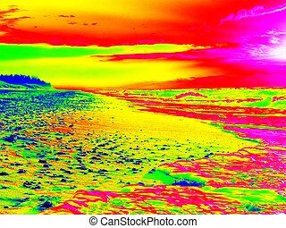 Infrared photo. Traces on beach at smooth sea, coastline in...