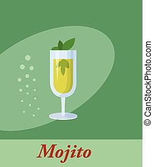 Mojito cocktail menu item or any kind of design. Party drink...