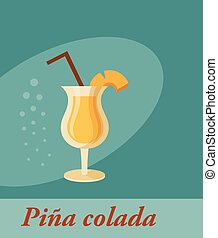Pina colada cocktail menu item or any kind of design. Party...