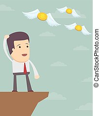 sad man in suit see off flying away money. - Businessman or...