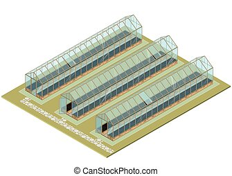 Mass farm. Isometric greenhouse with glass walls,...
