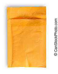 Open used yellow envelope top view