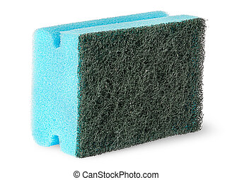 Sponge for washing dishes with felt on the side isolated on...
