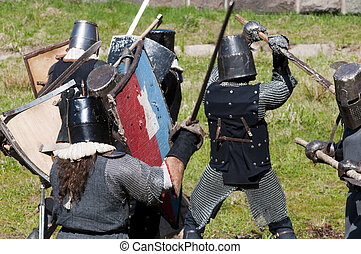 Reconstruction of knightly fight - KALININGRAD, RUSSIA -...