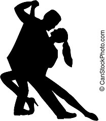 Tango couple silhouette