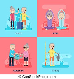 Leisure Activity Flat Concept - Leisure activity flat...