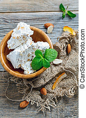 Sweet almond nougat with candied orange. - Sweet almond...