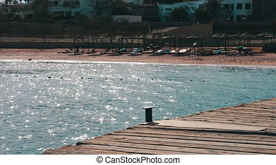 Seascape with wooden pier - The view from the wooden pier on...