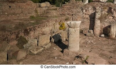 Ruins of an ancient bath house in Tralleis, Aydin, Turkey. -...