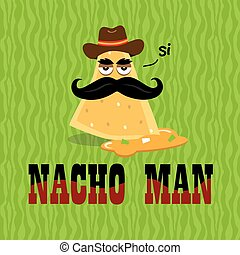 Nacho Man in Cheese Food Illustration - Illustration of a...