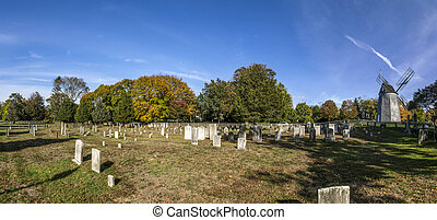 graveyard in East Hampton with old mill - old g raveyard in...