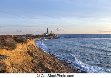 Montauk Point Light, Lighthouse, Long Island, New York,...