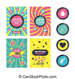 Bug and vaccine signs. Heart, spray can icons. - Sale...