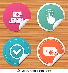 ATM cash machine withdrawal icons. - Round stickers or...