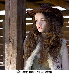 hermoso, Vaquera, sombrero, primer plano, retrato