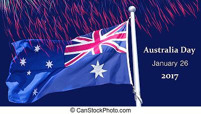 Australian flag over fireworks background