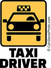 Taxi driver with yellow cab icon
