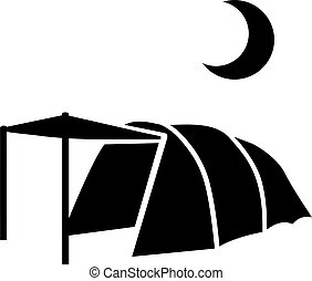 Tent at night with moon