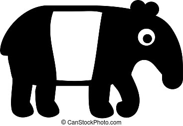 Cute and simple tapir in black and white