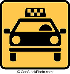 Yellow Taxi cab sign
