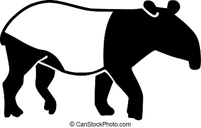 Tapir silhouette with black and white
