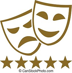 Golden theater masks with five stars
