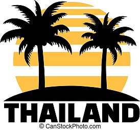 Thailand with sun palms and beach