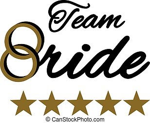 Team Bride with golden wedding rings