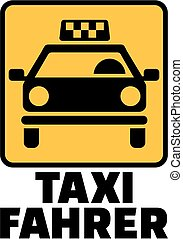 Yellow cab icon with german taxi driver job title