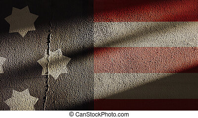 American Flag on Repaired Wall - American Flag on Repaired...